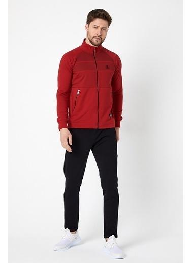 SPORTSTATİON Fermuarlı Sıyah Desenlı Pamuklu Erkek Eşofman Takımı Kırmızı